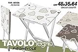 Tisch Klapptisch rechteckig aus Holz weiß verziert Herz Camping