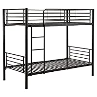Mecor 3FT Single Black Metal Bunk Bed Frame 2 Person For Kids Adult Guest Contemporary