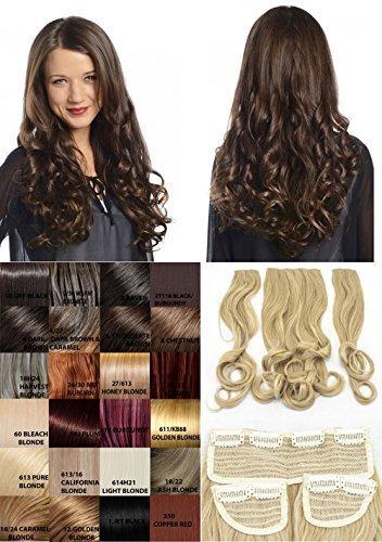 Haute Für Divas Celebrity Inspiriert Clip In 3-teiliges 50.8cm Lockig Voll Kopf Haarverlängerung Gewoben Haarteil Set - 4/27 Dunkelbraun und Karamell, 50cm (Karamell-farbton)