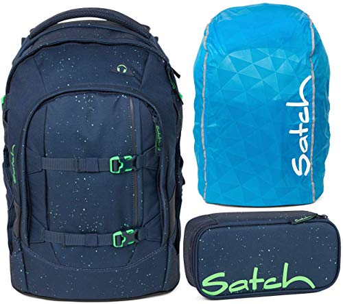 Satch Pack Space Race 3er Set Schulrucksack, Schlamperbox & Regencape blau