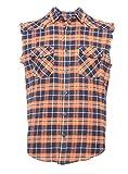 SOOPO Herren Ärmellose Kariert Flanell Hemden Freizeithemd aus Baumwolle Sleeveless T-Shirt schwarz&orange M