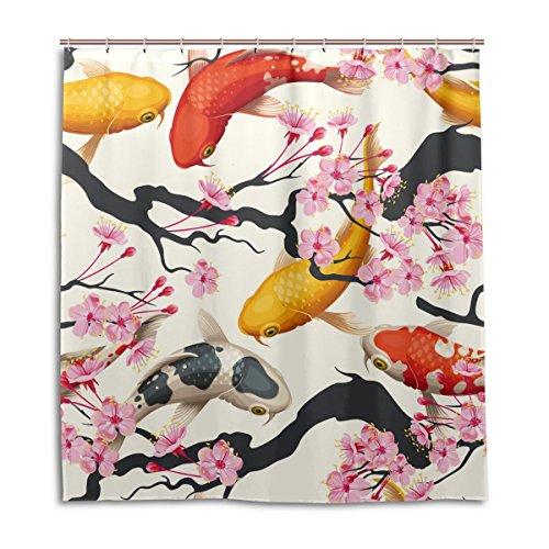 Fisch Klare Duschvorhang Mit (mydaily Koi Fisch Sakura Dusche Vorhang 167,6x 182,9cm, schimmelresistent & Wasserdicht Polyester Dekoration Badezimmer Vorhang)
