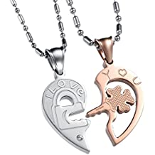 Contever® 2pcs Acero Inoxidable Colgante Collar Amistad con Colgante de Hombre Mujer, Regalo del día de San Valentín