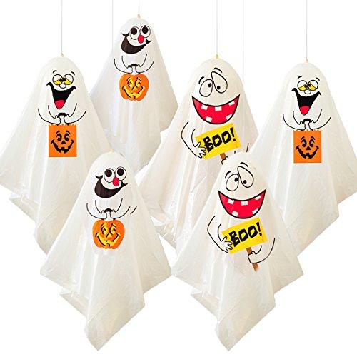 6 Lustige Halloween Geister - die gruselige hängende Gespenster Dekoration für Innen & Außen - Party (Baum Aufblasbare Halloween)