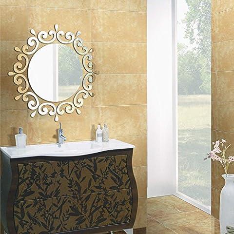 Große 3D Wand Aufkleber Dekor Acryl Living Home großer Spiegel Muster Oberfläche Diy Wall Sticker (Große Wand-dekor)
