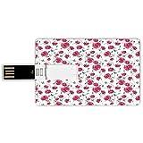 32GB Chiavette USB a forma di carta di credito Farfalla Memory Card stile carta di credito Festa della mamma a tema primavera in fiore natura immagine papavero fiori stampa decorativa,rosa Reseda verd