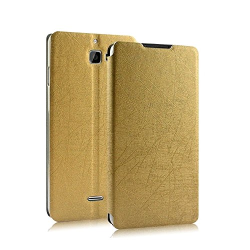 Heartly Premium Luxury PU Leather Flip Stand Back Case Cover For Micromax Canvas Nitro A310 A311 Dual Sim - Hot Gold