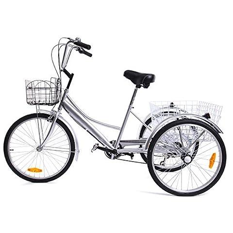 Ridgeyard 24 zoll 6 Speed 3 Rad Trike dreirad fuer erwachsene herren Fahrrad Radfahren Pedal mit korb Warenkorb dreirad (Silver)