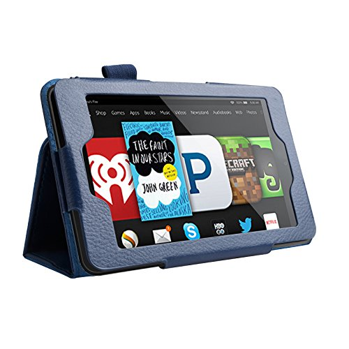 PBELE Neue Amazon Kindle Fire HD 6 Zoll 2014 Hülle Case - Schlank Folding Hülle für Amazon Kindle Fire HD 6-Zoll 2014 Tablet (Wi-Fi 8GB & 16GB) Multi-Function Kunstlederhülle PU Leder Navy blau (mit Smart Cover Auto Wake / Sleep, inkl. Displayschutzfolie und Stift) (Zubehör 2014 Hd 6 Fire Kindle)