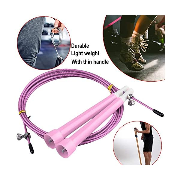 Cable Steel Jump Skipping Jumping Speed ​​Fitness Cuerda Cross Fit MMA Boxing (Rosa) 5