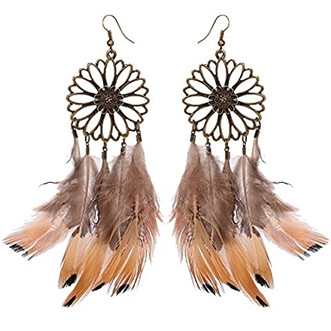 Exaggerated Elegant Personality Alloy Feather Large Circle Women Drop Earrings