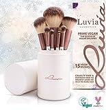 Luvia Cosmetics - Juego de pinceles Prime Vegan - 16 piezas Juego de pinceles cosméticos - Soporte de pinceles de maquillaje incluido para la conservación de pinceles de maquillaje veganos.