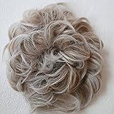 PRETTYSHOP Haarteil Haargummi Hochsteckfrisuren, Brautfrisuren, VOLUMINÖS, gelockter unordentlicher Dutt, grau mix #18Twhite G19E