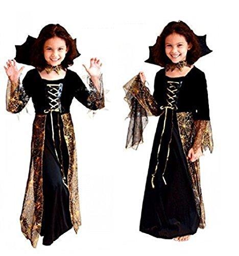 (Größe XL - 10-12 Jahre - Kostüm - Cross Dressing - Karneval - Halloween - Hexe - Megera - Maga - Farbe Schwarz - Kleines Mädchen)