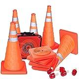 5PCS 45,7cm pieghevole coni traffico stradale parcheggio coni di sicurezza costruzione coni di emergenza con lampeggiante lampada