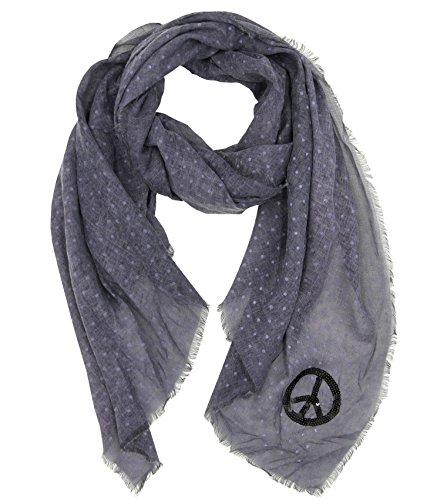 Trends für Dich Damen Pünktchen Halstuch Pailletten Peace Zeichen Punkte Polka Dots Schal Tuch Langschal Stola (8497) (Jeans blau) - Jeans Peace-zeichen
