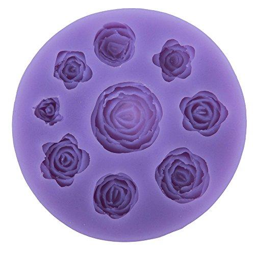 niceeshop(TM) 9 Rose Blumen Form DIY Kuchen Dekoration Fondant Silikon Zucker Handwerk Formen, Zufällige Farbe (40 Chocolate Mold)