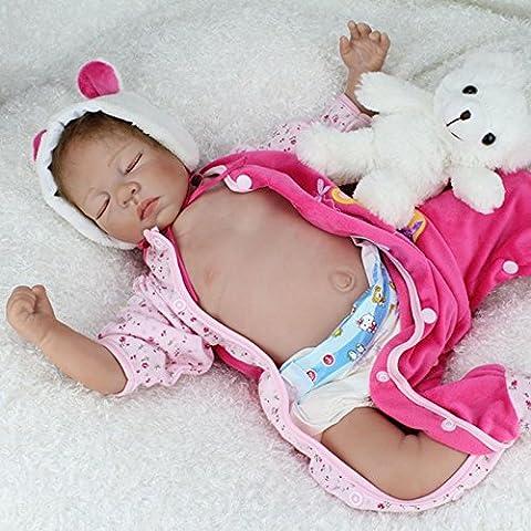 Nicery Reborn Baby Doll Soft Silicone Vinyl 22inch 55cm Magnetic Mouth Lifelike Boy Girl Toy Pink Sleeping Bear Eyes Close A3US