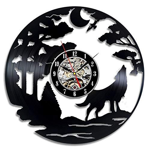 hysxm Der Wolf Modern Design Vinyl Record 12 Zoll 3D Wanduhr Tiere Aufkleber Für Wohnkultur
