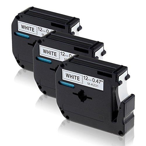 3 Schriftbänder Kompatibel für Brother M-K231 Schwarz auf Weiß 12mm x 8m Label Tape /Label cassette Etikettenband Geeignet für Brother P-Touch PT-100, PT-110, PT-45M, PT-55BM, PT-55S, PT-65, PT-65SB, PT-65SCCP, PT-65SL, PT-65VP, PT-70, PT-70BBVP,