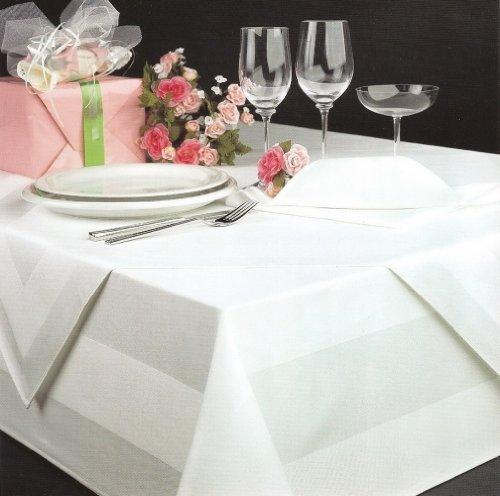 DecoHomeTextil DHT Baumwolle - Tovaglia damascata, 130 x 280 cm, Lavabile Fino a 95°, Colore: Bianco