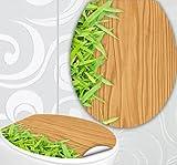 StickerProfis WC Sitz Aufkleber HOLZ BAMBUS Design Folie Dekor für Toilettendeckel Klodeckel incl. 2 Fliesenaufkleber