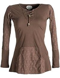 Vishes - Alternative Bekleidung – Bedrucktes Longshirt aus Baumwolle mit Kangurutasche