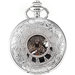 AMPM24 Silver White Skeleton Mens Carved Mechanical Classic Pocket Watch Chain Gift + AMPM24 Gift Box WPK081