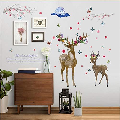 MYLOOO Wandsticker DIY Deer Removable Wall Decal Familie Startseite Aufkleber Wandbild Art Home Decor (Deer Family Auto-aufkleber)