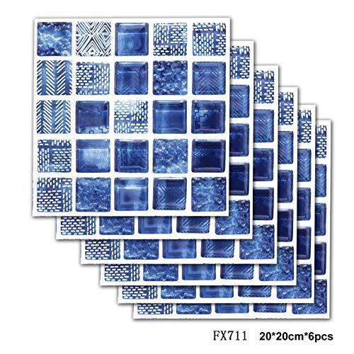 3D Simulation Fliesenaufkleber, Klebefolie Fliesen Selbstklebend Dekoration Aufkleber Blaues Mosaik für Küche Backsplash Badezimmer 6Stück-20x20cm(8x8Zoll) (Keramik-backsplash)