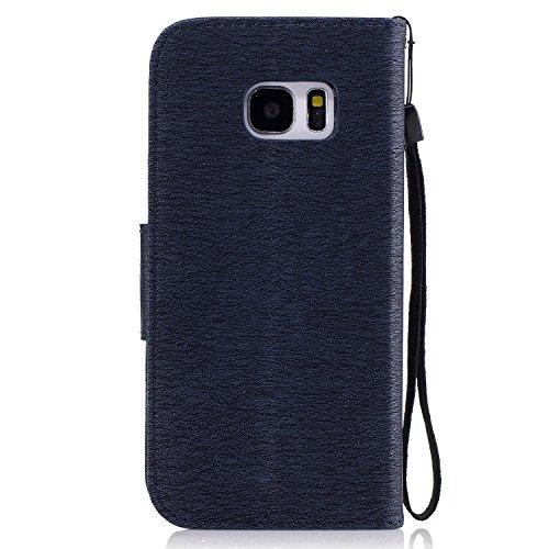 Hülle für Samsung Galaxy S7 Edge Schmetterling,TOCASO Glitter Strass Bling Ledertasche Muster Weich PU Schutzhülle für Samsung Galaxy S7 Edge Flip Cover Wallet Case Tasche Handyhülle mit Lanyard Strap bear, 1