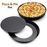 Bulfyss Bakeware Pie Dish Tart Pan With Removable Bottom,Carbon Steel,20 cm,Black