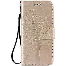 pinlu Flip Funda de Cuero para LG Nexus 5 X 5.2 Carcasa con Función de Stent y Ranuras con Patrón de Gato y Árbol Cover (Oro)