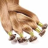Just Beautiful Hair 50 x 0,8g REMY U-Tip Bonding Extensions - 40cm - glatt - #8 Hellbraun - Echthaar Extensions Haaverlängerung Nail Keratin