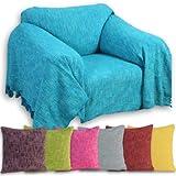 Homescapes Handgewobene Tagesdecke Nirvana mit Knoten-Optik 150 x 200 cm Plaid aus 100% reiner Baumwolle Bettüberwurf Sofaüberwurf mit Fransen