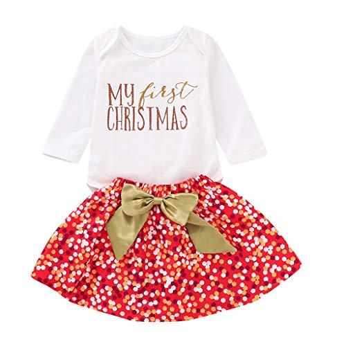 Allence Baby Mädchen Weihnachten Strampler Romper Spielanzug Bodys + Bow Rock WeihnachtsTütü Rock + Super Süß Beinwärmer Schuhe+ Stirnbänder Set Kleidung Weihnachtsoutfit