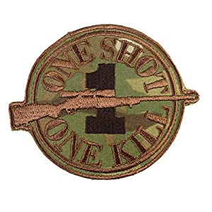 Multiterrain Multicam Sniper Velcro Écusson Patch Morale ONE SHOT ONE KILL Airsoft Surplus