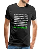 Spreadshirt Binärcode Be Different Männer Premium T-Shirt, L, Schwarz
