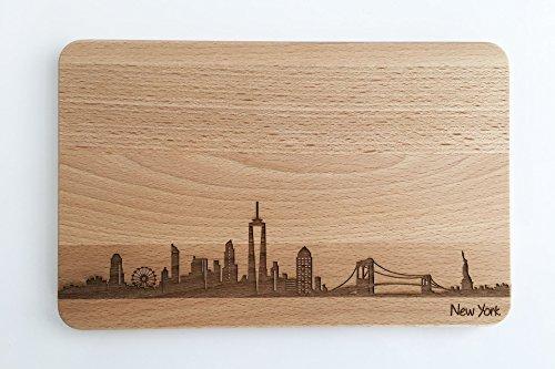 Brotzeitbrett New York Skyline | Frühstücksbrettchen aus Buche | Holz Schneidbrett | Geschenk mit Gravur | Frühstücksbrett | USA | Amerika (ohne persönlicher Gravur)