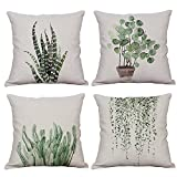 Witch's Magic House Set von 4 Green Plant Überwurf Kissenbezüge Dekorative Baumwolle Leinen Quadratisch Outdoor Kissenbezug Sofa Home Kissenbezüge 45,7 x 45,7 cm