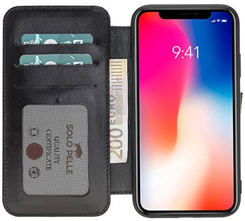 Solo Pelle kompatibel für das iPhone XR Hülle Case Lederhülle Ledertasche Wallet Tasche in Schwarz Walletbook Case
