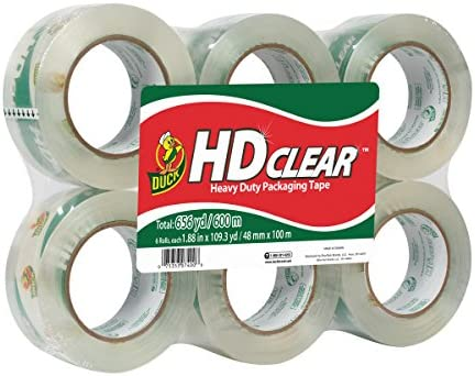 Duck brand HD Clear Clear Clear High performance Packaging tape, 100 m rossoolo 6-Pack Clear 2a5105