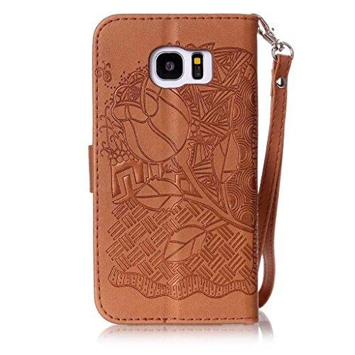 Galaxy S6 Edge Leder Hülle [mit Frei Panzerglas Displayschutzfolie], BoxTii® Galaxy S6 Edge Schutzhülle mit Kartenfächern und Bumper Silikon TPU Cover, Lederhülle Ledertasche Handyhülle mit Standfunkt #13 Braun