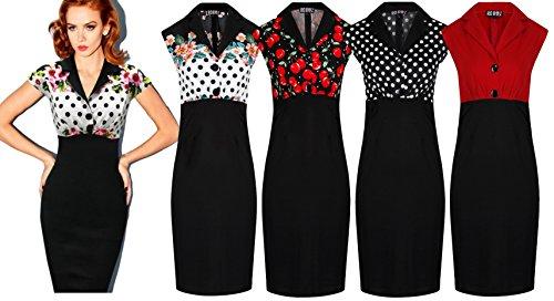 Neue Rockabilly Vintage 50er Jahre Wiggle Kleid (DE 36, Kirschen) - 3