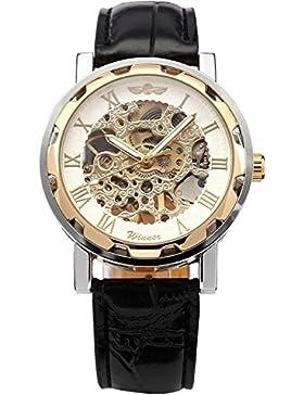 Winner - Herrenuhr - Automatik Uhr - Leder armbanduhr - Weisses Gold