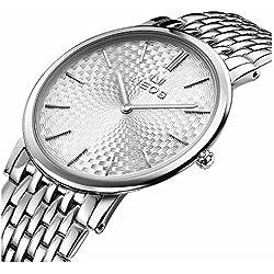 Men's Ultra Slim Morie White Dial Stainless Steel Quartz Waterproof Wrist Watch