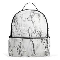School Backpack, Marble Print Book Bag Bookbag Travel Large Casual Rucksack Daypack for Teenagers Girls Boys Kids White Black