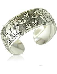 Elephant Engraved German Silver Adjustable Cuff Bracelet/ Kada (Broad Bangle)