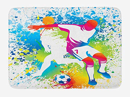 OQUYCZ Youth Bath Mat, Football Players with a Soccer Ball and Colorful Grunge Splashes Competition Sports, Plush Bathroom Decor Mat with Non Slip Backing, 23.6 W X 15.7 W Inches, Multicolor