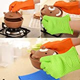 Orpio Heat Resistant Silicone BBQ Grilling Glove (16x5x4, Multicolour) -1 Pair